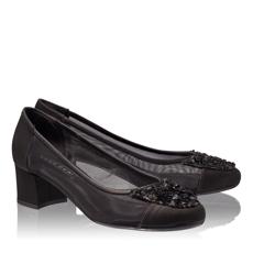 Pantofi Eleganti Dama 4627 Saten+Rete Nero