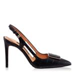 Pantofi Decupati Dama 5509 Croco Negru