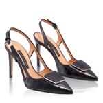 Imagine Pantofi Decupati Dama 5509 Croco Negru
