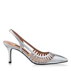 Imagine Pantofi Decupati Dama 5516 Vitello Argento