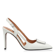 Pantofi Decupati Dama 5509 Croco Alb