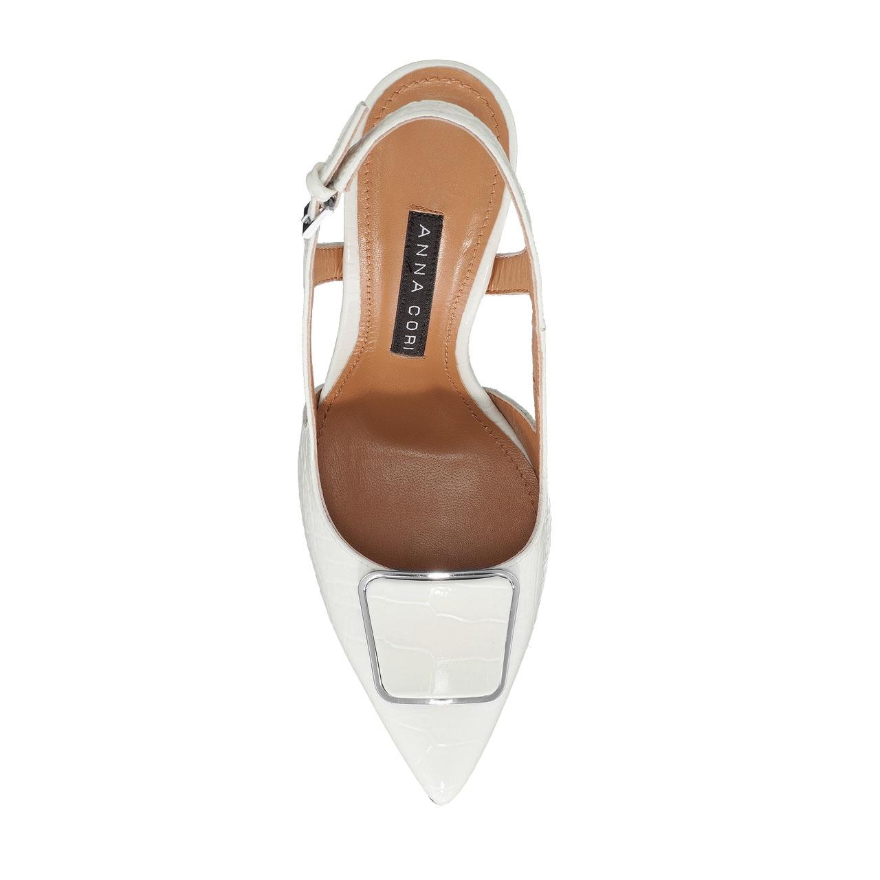 Imagine Pantofi Decupati Dama 5509 Croco Alb