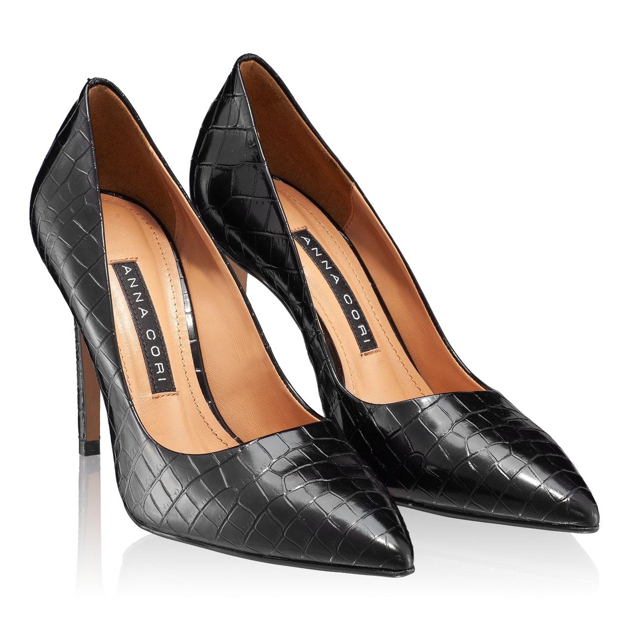 Imagine Pantofi eleganti dama 4332 Croco Negru
