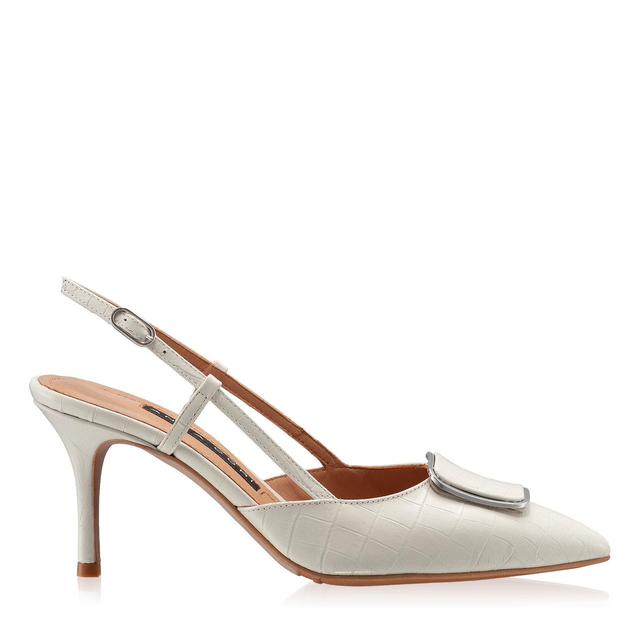 Pantofi Decupati 5843 Croco Avorio