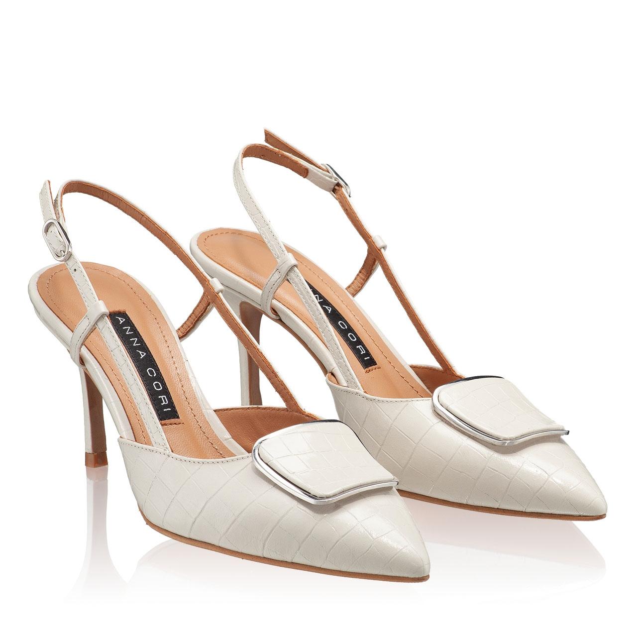 Imagine Pantofi Decupati 5843 Croco Avorio