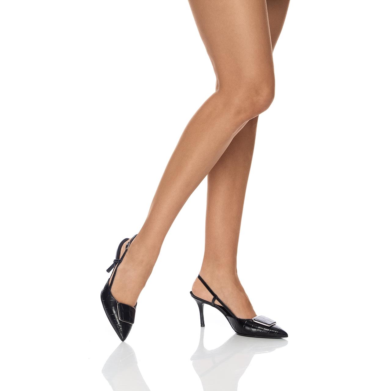 Imagine Pantofi Decupati 5843 Croco Negru