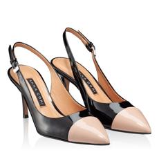 Pantofi Decupati Dama 5906 Lac Negru + Nude