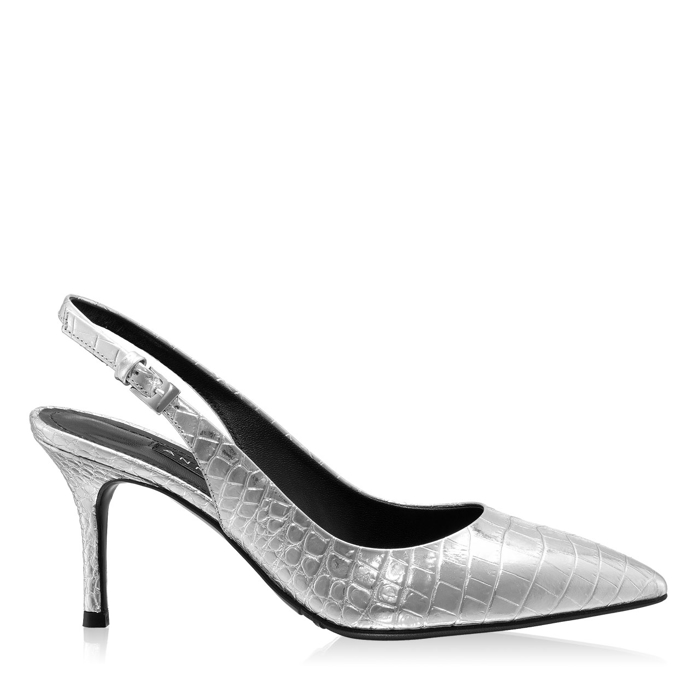 Imagine Pantofi Decupati Dama 5728 Croco Argento