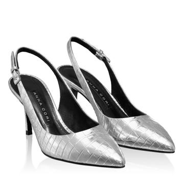 Pantofi Decupati Dama 5728 Croco Argento