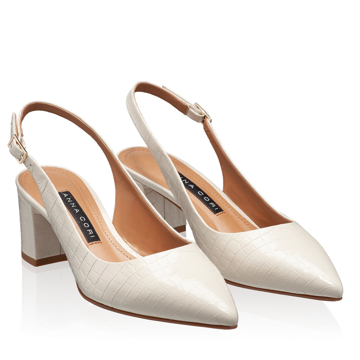 Pantofi Decupati Dama 5907 Croco Avorio