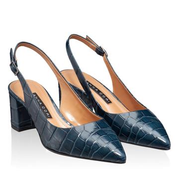Pantofi Decupati Dama 5907 Croco Blue