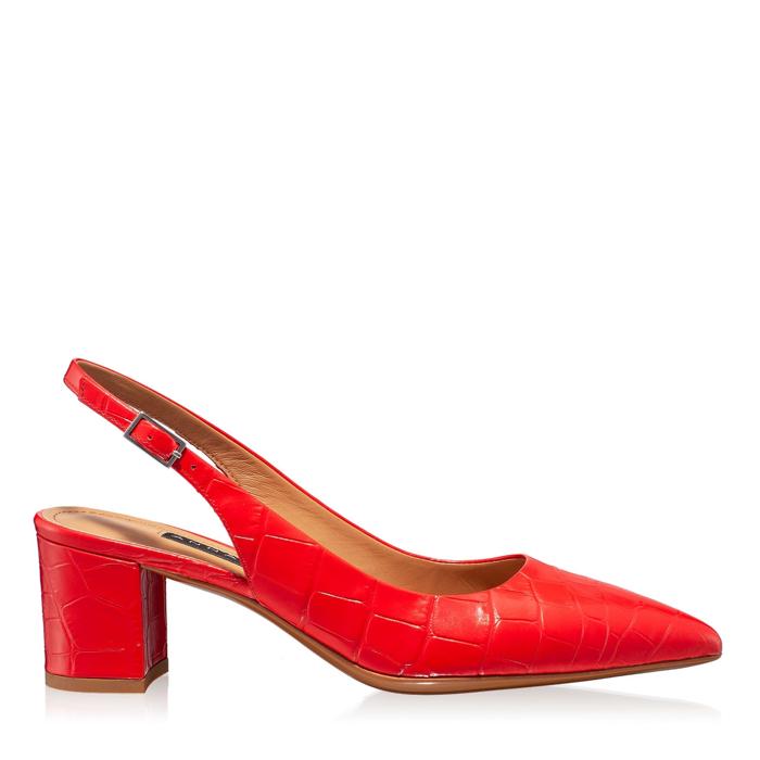 Imagine Pantofi Decupati Dama 5907 Croco Rosu