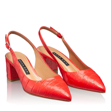 Pantofi Decupati Dama 5907 Croco Rosu
