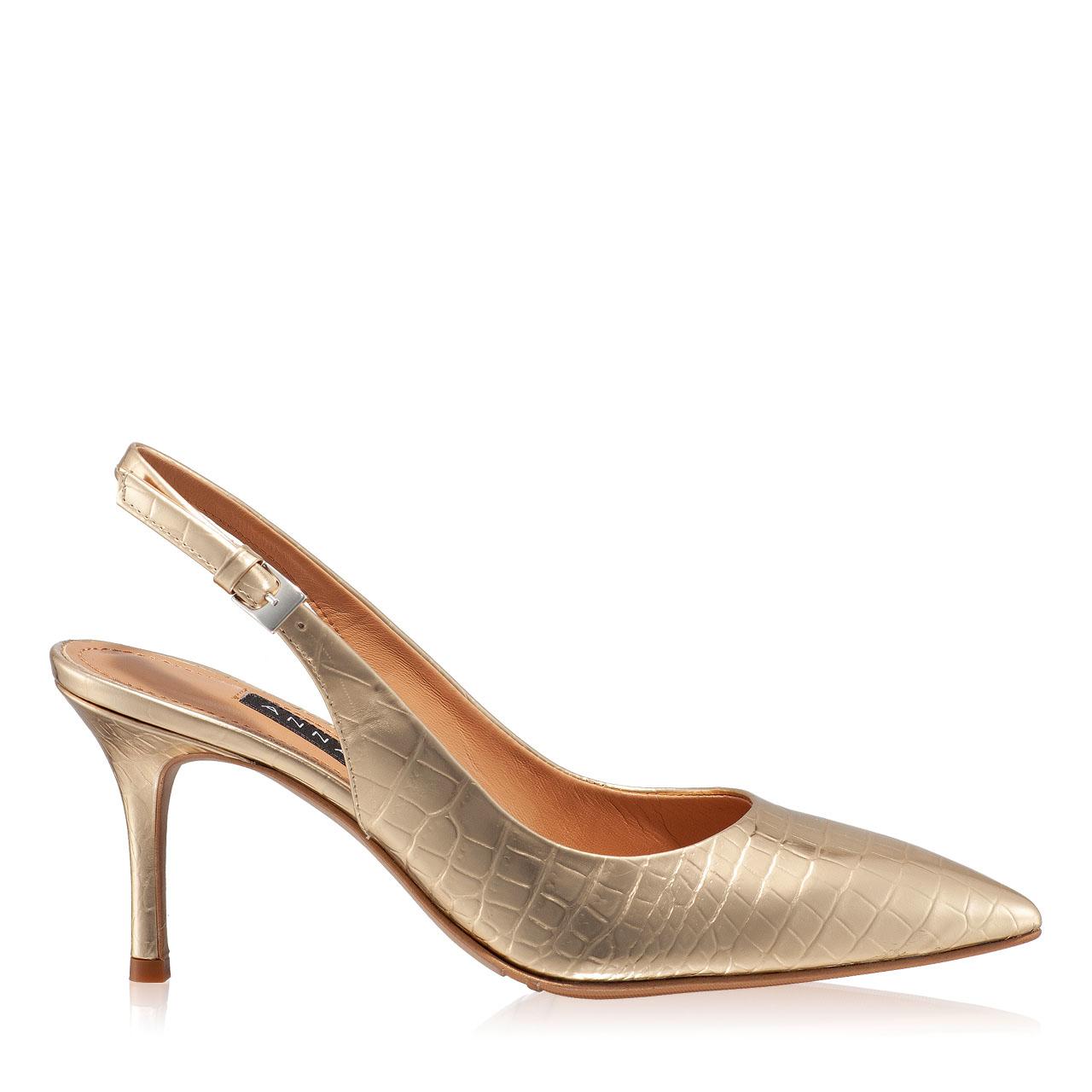 Imagine Pantofi Decupati Dama 5728 Croco Oro